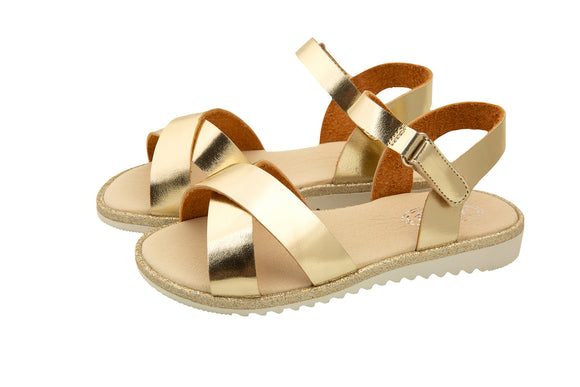 SS21 Rochy Gold Cross Over Sandals