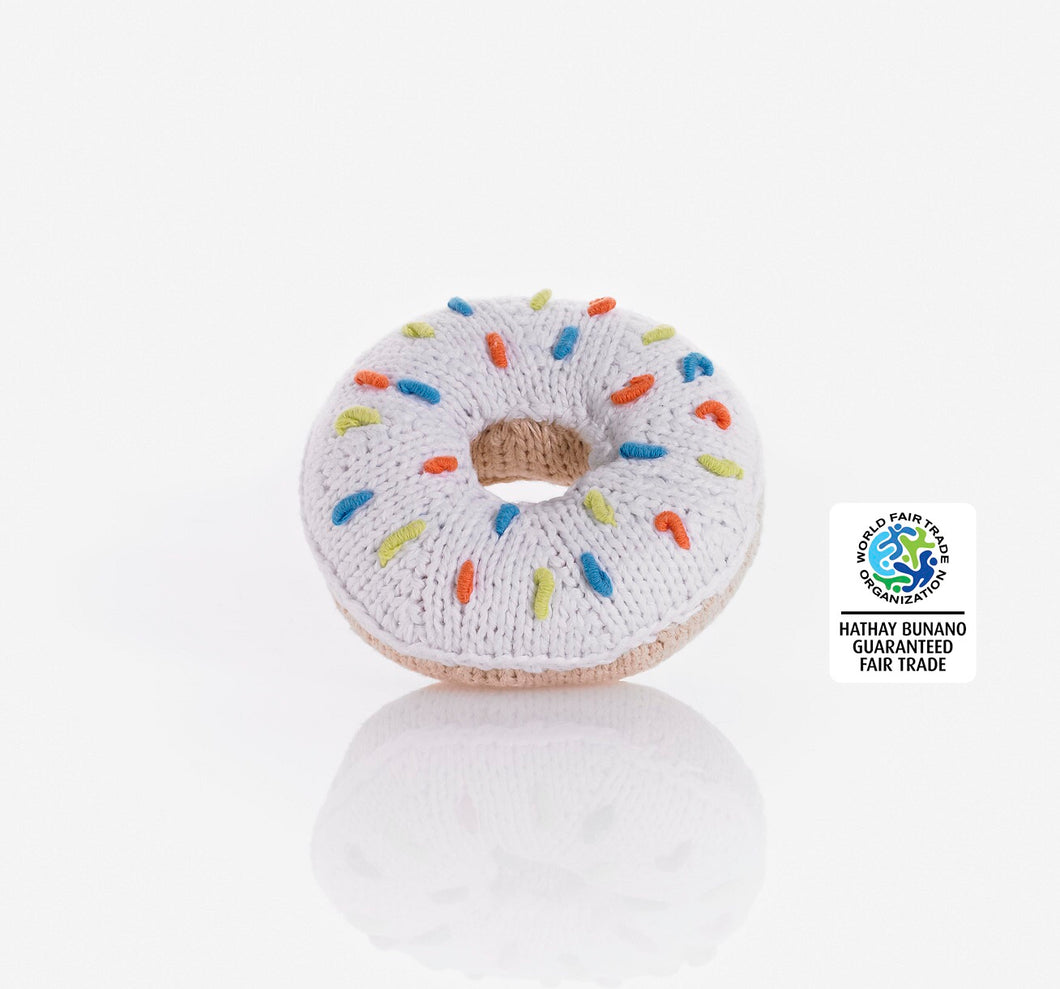 Best Years Fairtrade Cotton Donut Rattle - White