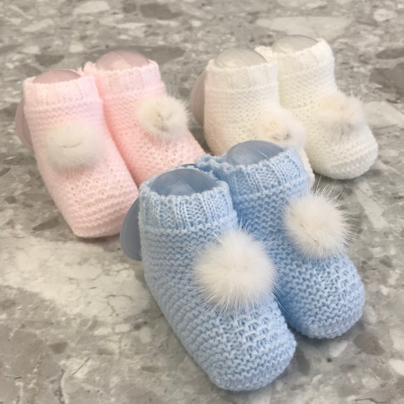 Juliana Knitted Baby Booties with Fur Pom Pom