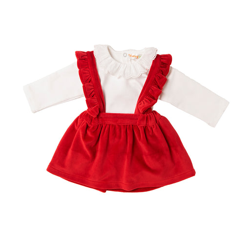 AW20 Babybol Red & Cream Pinafore Set