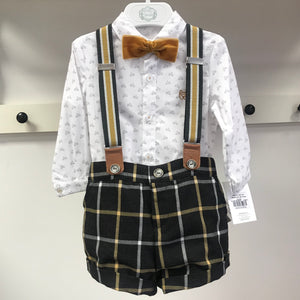 AW19 Marta Y Paula Paloma Baby Boys Short Set with Braces & Dickie Bow - 1863