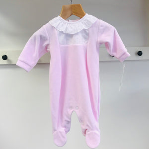 Rapife Pink Velour Babygrow with Frill Collar - 6007