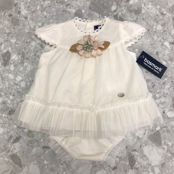 Basmarti August Cream Tulle Girls Dress & Bloomers - 21050