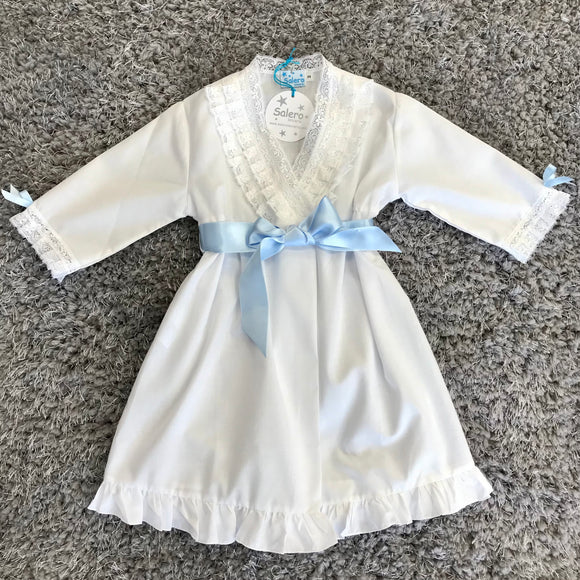 Salero Lenceria Isabella White & Blue Dressing Gown