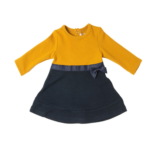 AW20 Babybol Mustard & Navy Colour Block Dress