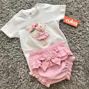 SS21 CuKa Arona Pink Rabbit Baby Girls Jam Pant Set - 88646