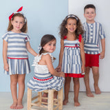 SS21 Basmarti Gladstone Nautical Drop Waist Girls Dress - 21111
