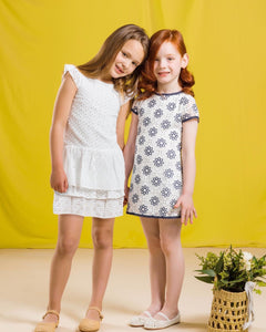 SALE UBS2 Girls White Broderie Anglaise Dress