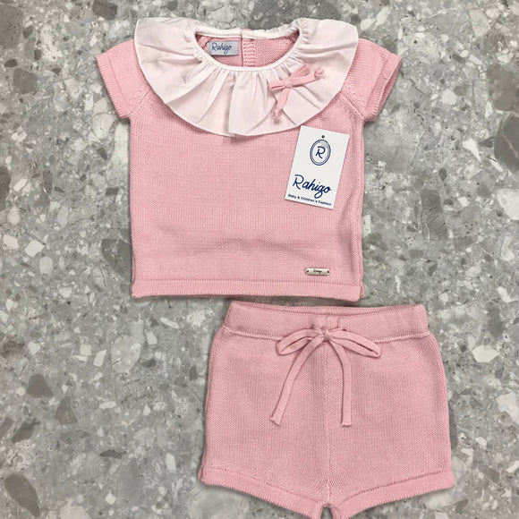 Rahigo Frill Collar Pink Girls Short Set - 21195