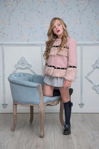 SALE AW20 Miranda Pink & Black Boucle & Faux Fur Jacket - 340
