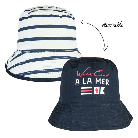 Week-End A La Mer Navy & White Reversible Hat