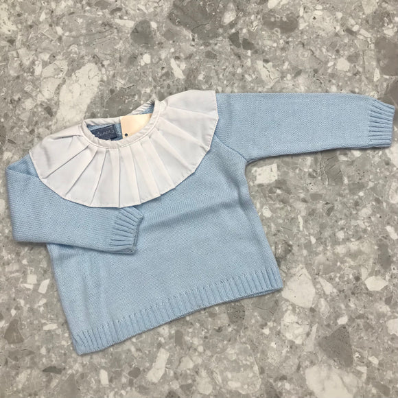 Aurea Blue Knitted Jumper with Frill Collar