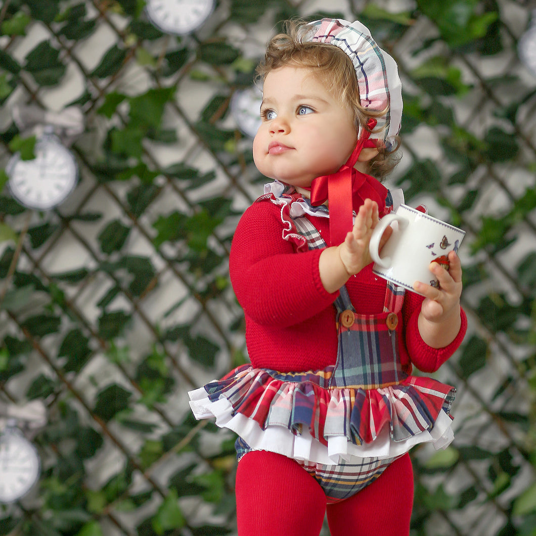 Foque Red Tartan Baby Girls Romper Set with Bonnet