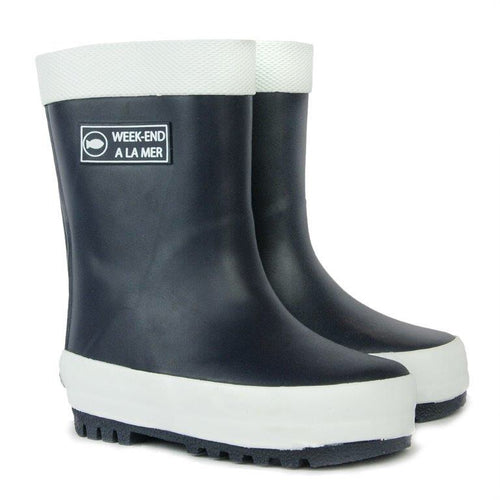 Week-end a la Mer Navy Rain Boots