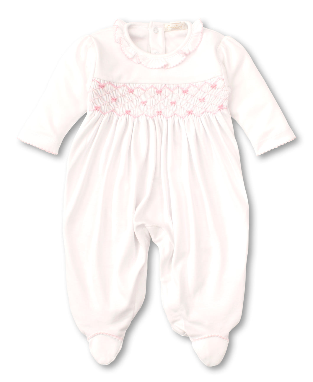 Kissy Kissy Summer Bows White Smocked Babygrow