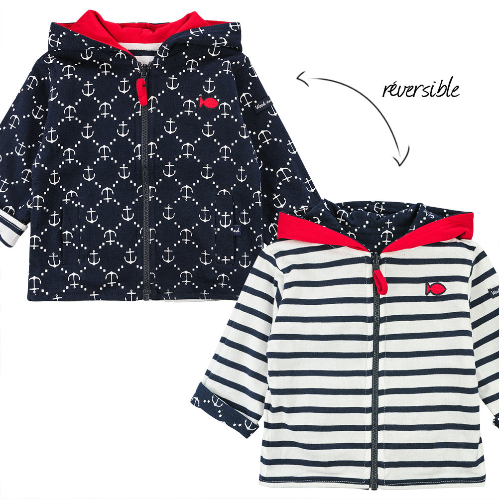 Week-End A La Mer Navy & Red Reversible Hoodie Jacket