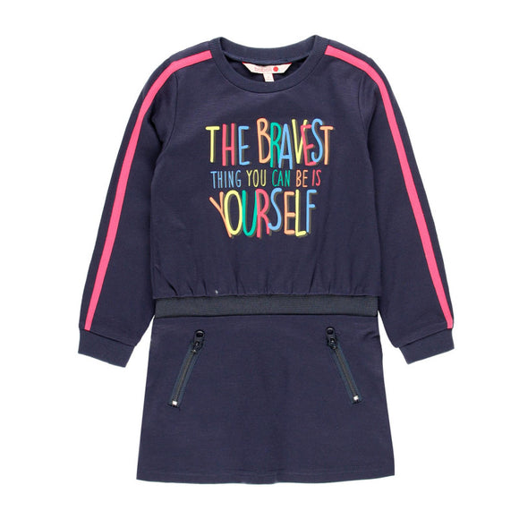AW19 Boboli Girl Rules Navy Dress - 2440