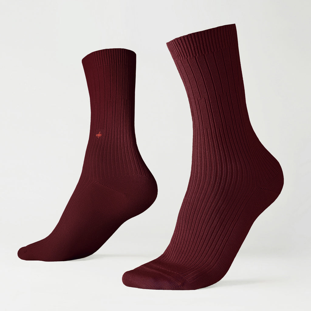 Dueple's Burgundy swiit Colored Left Sock