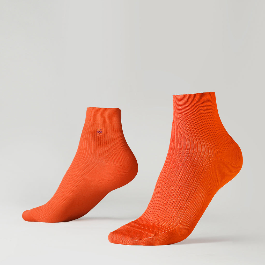 Dueple's Ankle orange Colored Left Sock