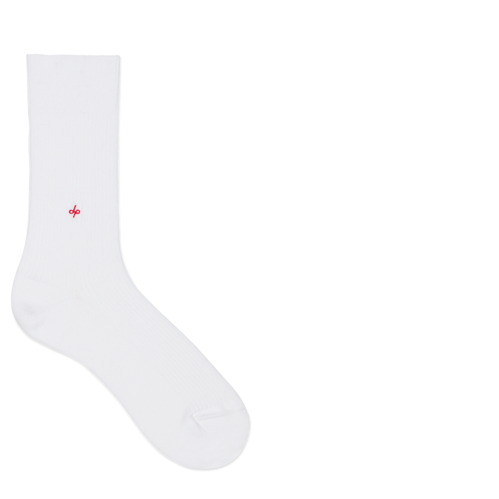 Dueple's White jack Colored Left Sock