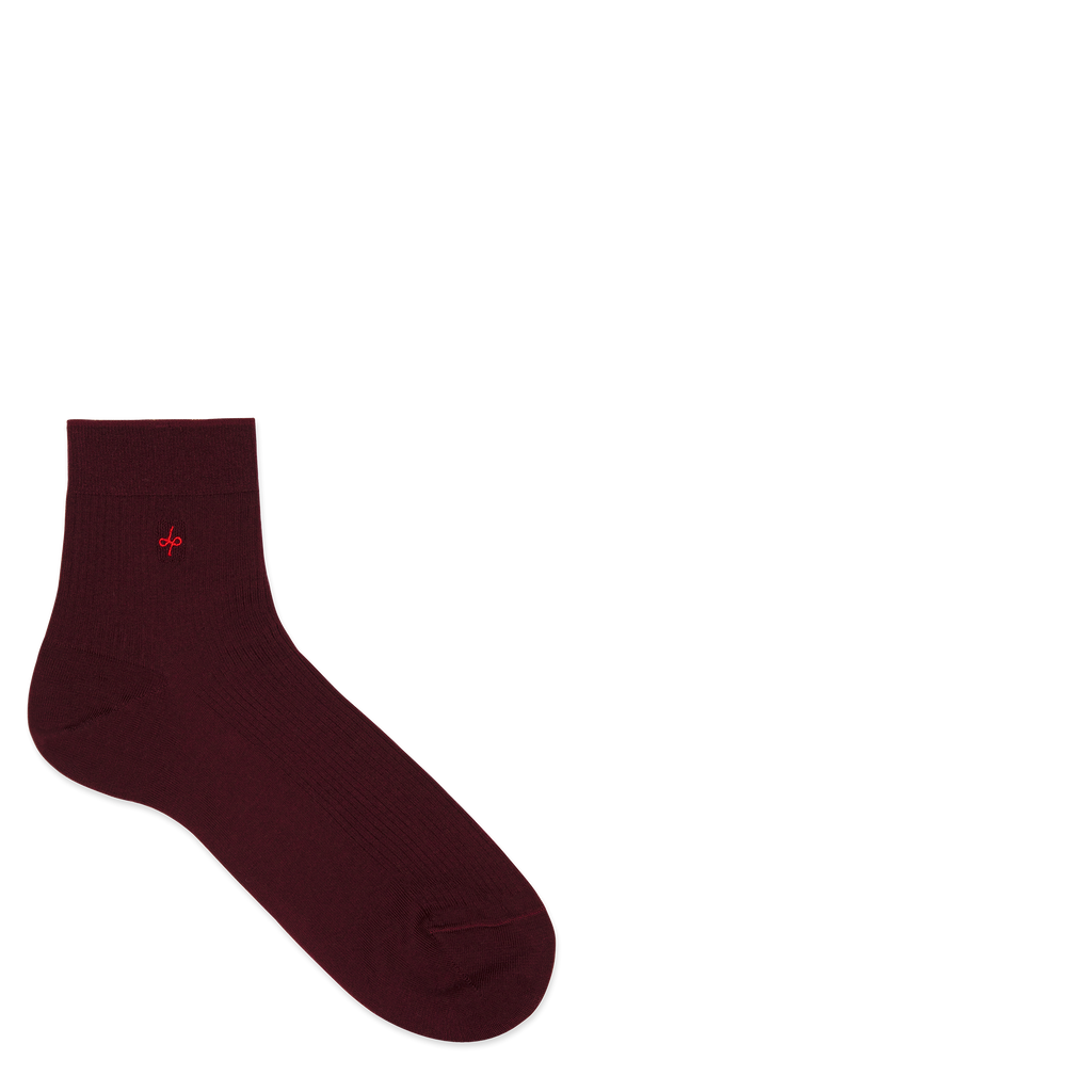 Dueple's Ankle burgundy Colored Left Sock