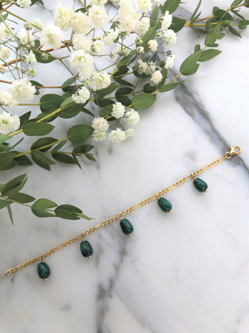 Bracelet en gold-filled avec malachite (121-001)