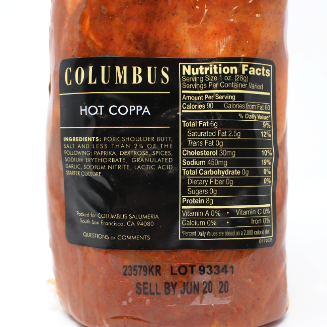 Coppa Hot Columbus - Cured and Cultivated