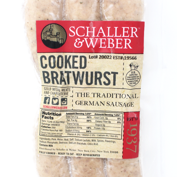 Bratwurst Schaller & Weber, 2.3 lb - Cured and Cultivated