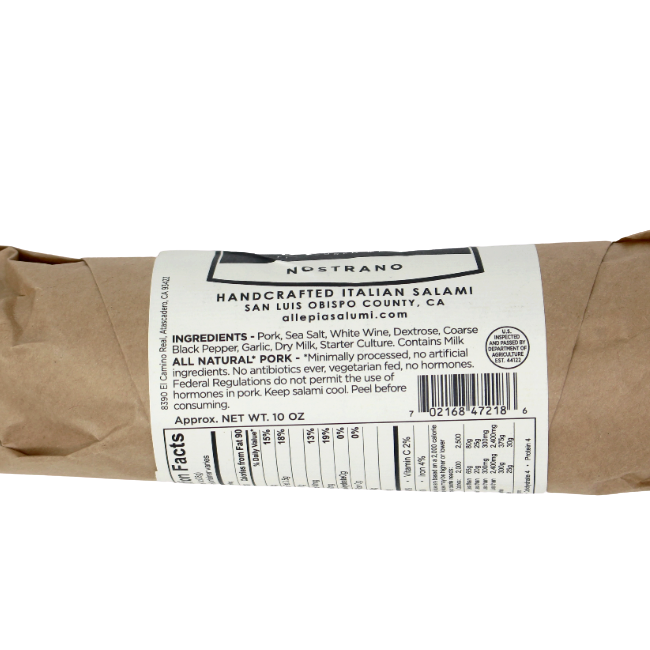 Nostrano Italian Salami, 10 oz - Cured and Cultivated