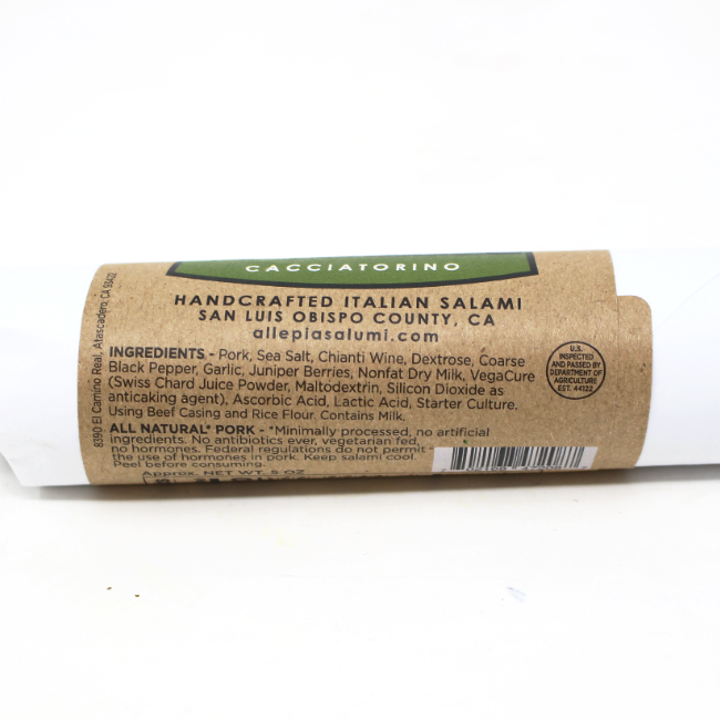 Cacciatorino Italian Salami, 5 oz. - Cured and Cultivated