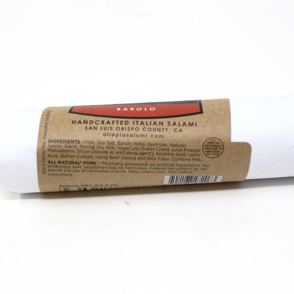 Barolo Italian Salami, 6 oz. - Cured and Cultivated