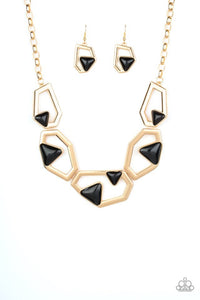 Paparazzi Jewelry Necklace GEO-ing, GEO-ing, Gone - Gold