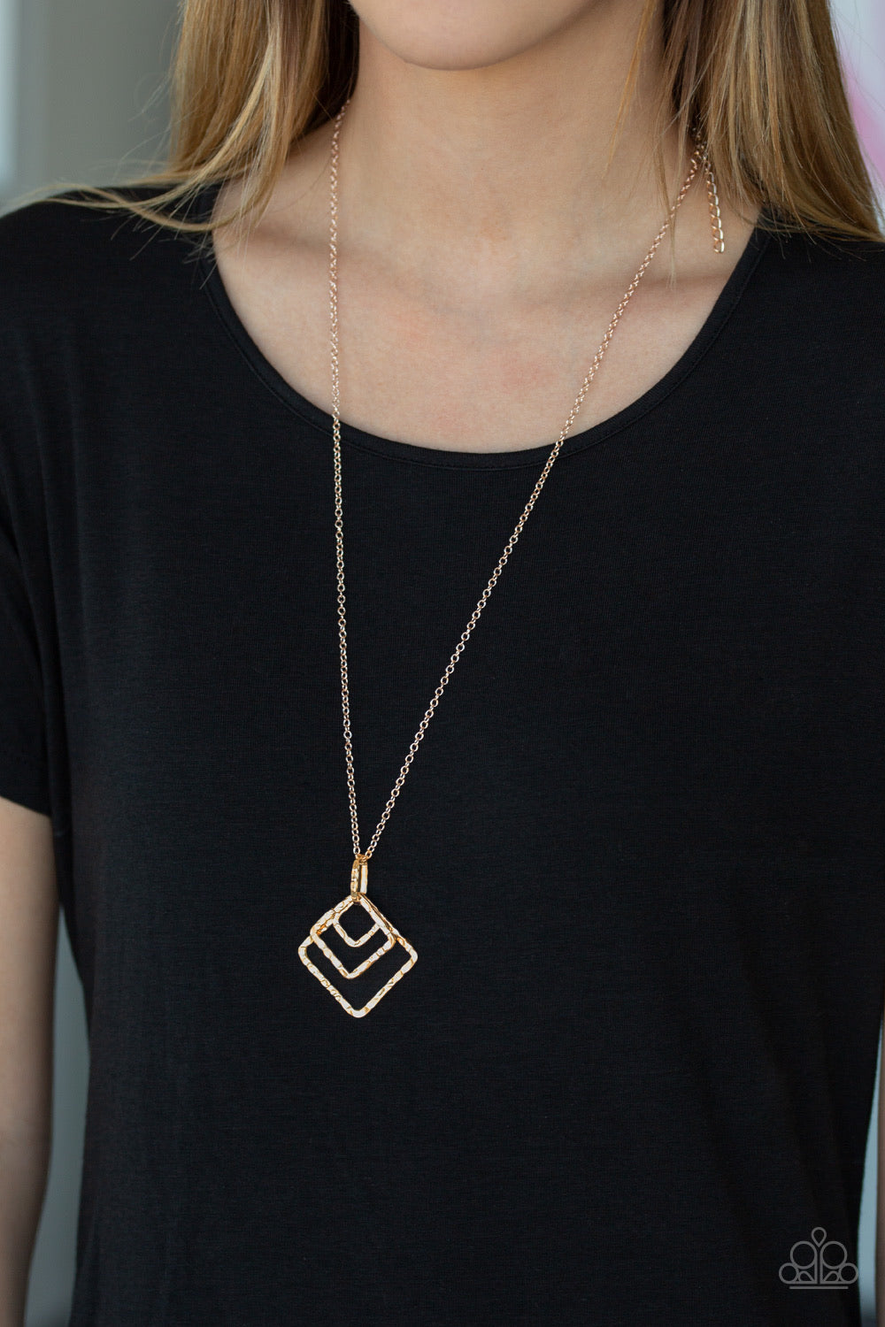 Paparazzi Jewelry Necklace Square It Up Rose Gold