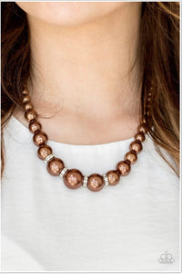Paparazzi Jewelry Necklace Party Pearls - Brown