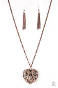 Paparazzi Jewelry Necklace Victorian Virtue - Copper