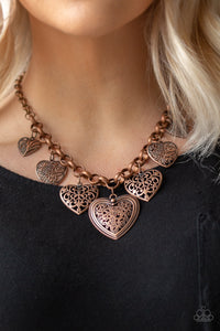 Paparazzi Jewelry Necklace Love Lockets - Copper