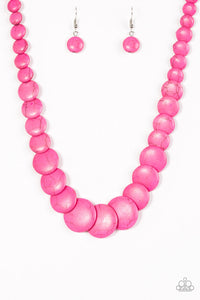 Paparazzi Jewelry Necklace Desert Flats - Pink