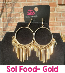 Paparazzi Jewelry Earrings SOL Food Gold