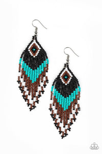 Paparazzi Jewelry Earrings Wind Blown Wanderer - Blue