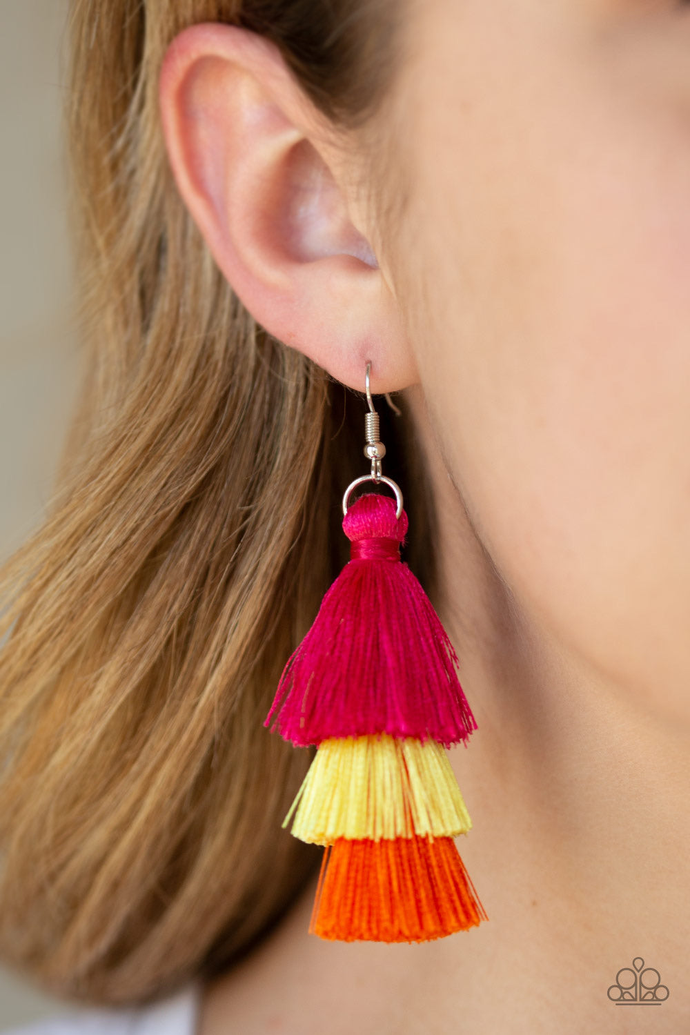 Paparazzi Jewelry Earrings Hold On To Your Tassel! - Multi