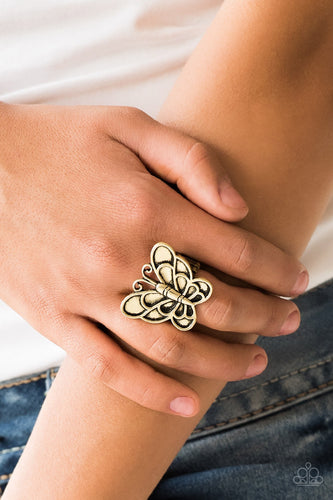 Paparazzi Jewelry Ring Sky High Butterfly - Brass