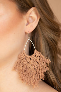 Paparazzi Jewelry Earrings Oh MACRAME, Oh My - Brown