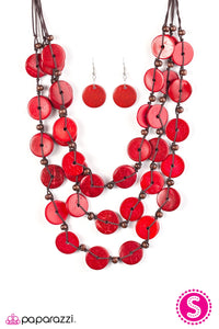 Paparazzi Jewelry Wooden Tiki Tango - Red