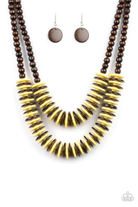 Paparazzi Jewelry Wooden  Dominican Disco - Yellow