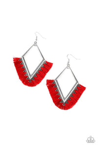 Paparazzi Jewelry Earrings When In Peru - Red