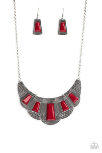 Paparazzi Jewelry Necklace Lion Den - Red