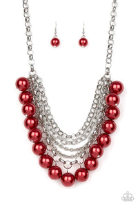 Paparazzi Jewelry Necklace One-Way WALL STREET - Red