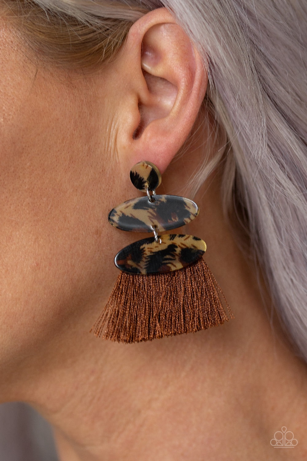 Paparazzi Jewelry Earrings No One Likes A Cheetah - Brown