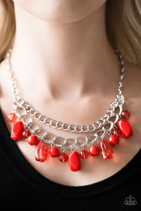 Paparazzi Jewelry Necklace Brazilian Bay - Red