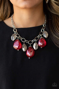 Paparazzi Jewelry Necklace Looking Glass Glamorous - Red